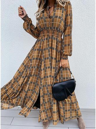 Carouri Mâneci Lungi Bir Çizgi Patenci gündelik Midi Elbiseler