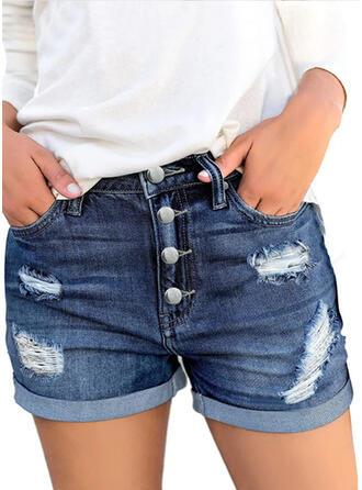 Solid Diz üstü gündelik Nostaljik Büyük beden Pocket Büzgülü Yırtık Buton Pantolonlar Şort Kot pantolon
