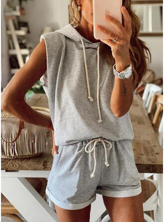 Solid Sportig Fritids sweatshirts & Tvådelade kläder uppsättning