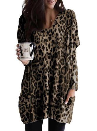 leopardo Scollatura a V Maniche lunghe Casuale Maglieria Camicie