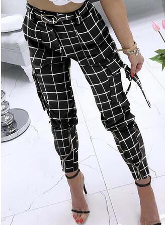 W kratę Kieszenie Duży rozmiar Długo Nieformalny Elegancki Seksowny Spodnie