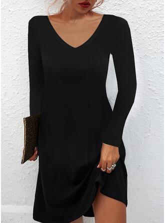 Solid Mâneci Lungi Shift Elbiseleri Deasupra Genunchiului Negre/gündelik Tunică Elbiseler