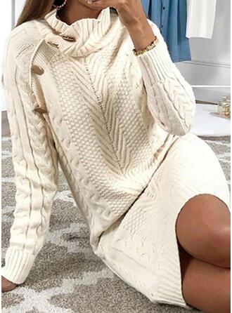 Jednobarevné Copánkový vzor Rolák Neformální Dlouhé Svetrové šaty