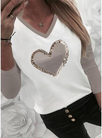 Renkli klişe Kalp Imprimeu Payetler Decolteu în V Mâneci Lungi Tişörtler