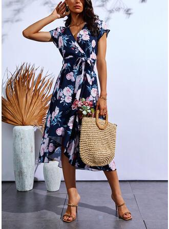 Imprimeu/Floral Mâneci Scurte Cap Sleeve Bir Çizgi Wrap/Patenci gündelik Midi Elbiseler
