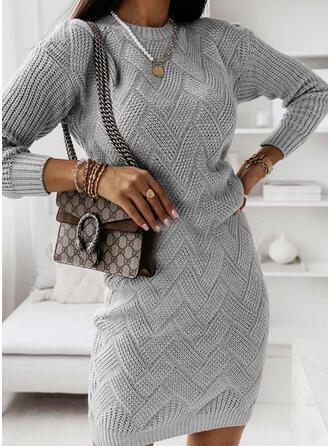 Solid Mâneci Lungi gündelik Elbiseler