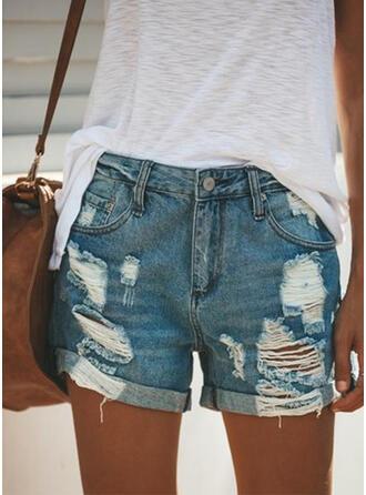 Ripped Casual Denim Shorts