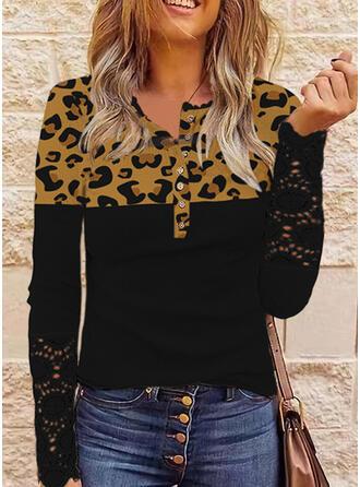 Trozos de color Leopardo Cuello Redondo Manga Larga Camisetas