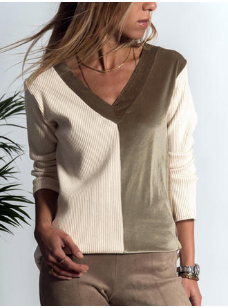 Patchwork V-Neck Long Sleeves Casual Knit T-shirts