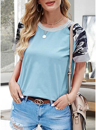 Camouflage Striped Round Neck Short Sleeves T-shirts