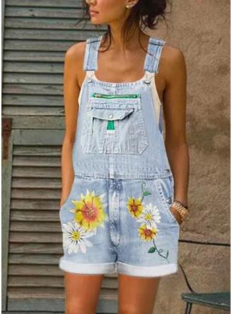Цветочный Распечатать Ремень безрукавный Повседневная джинсы Ползунки