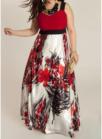 Plus velikost Květiny Tisk Bezrukávů Do tvaru A Maxi Neformální Šaty