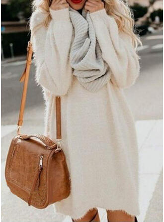Solid Chunky knit Round Neck Casual Long Sweaters