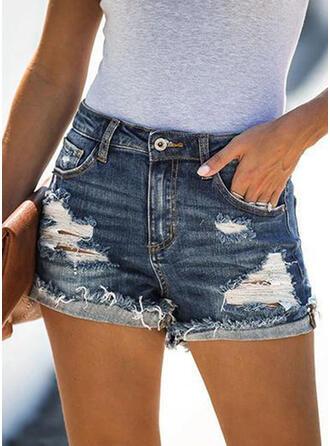 Solid Diz üstü gündelik Pocket Yırtık Buton Pantolonlar Şort Kot pantolon