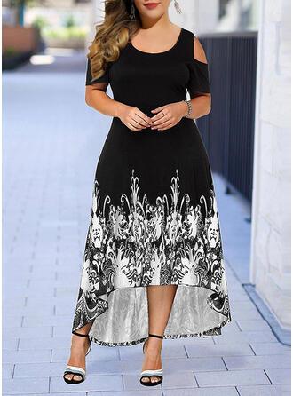 Plus velikost Tisk Krátké rukávy Do tvaru A Asymetrické Neformální Elegantní Šaty