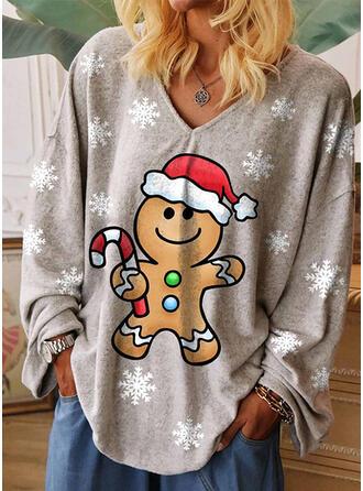 Print V-hals Lange Mouwen Casual Kerstmis T-shirts