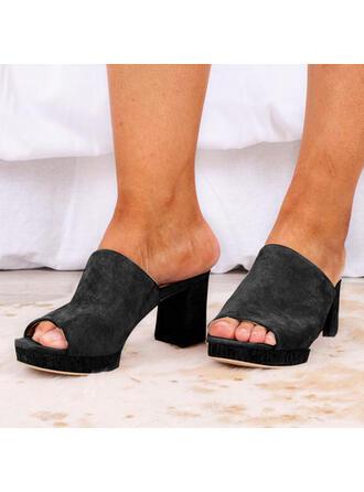 Pentru Femei PU Toc gros Platformă Puţin decupat în faţă Şlapi Tocuri cu Culoare solida pantofi