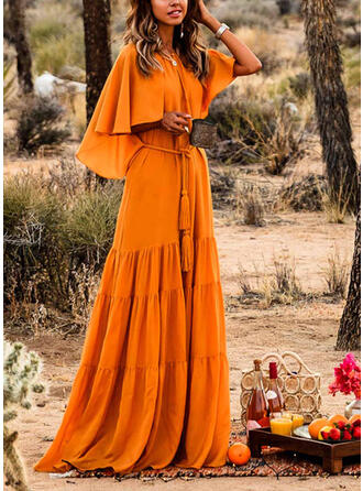 Solid Short Sleeves/Split Sleeve A-line Casual/Vacation Maxi Dresses