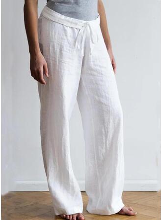 Pevný Plus Size Șnur Boho Casual Pantaloni Lounge