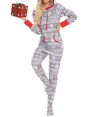 хлопок Длинные рукова рождество Шнурок Пижамный комплект