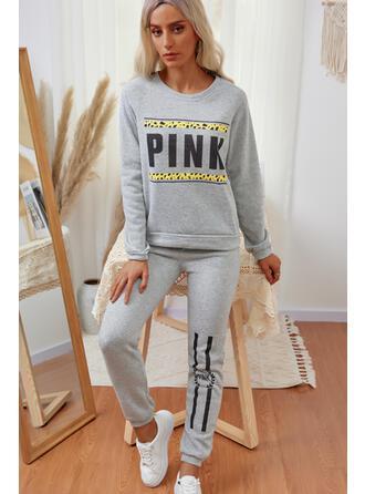 Brev Print Fritids sweatshirts & Tvådelade kläder uppsättning
