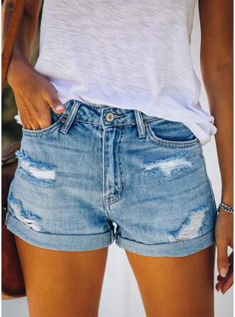Sólido Acima do joelho Casual Bolso shirred rasgado Button Calças Calção Jeans