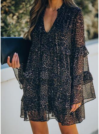 Leopard Long Sleeves/Flare Sleeves Shift Above Knee Elegant Dresses