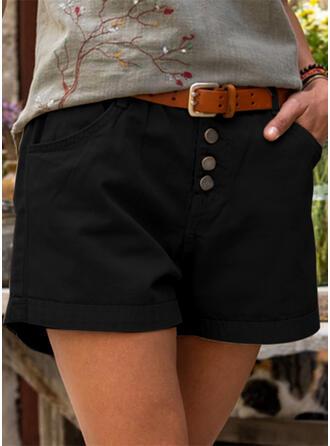Pevný Nad kolenem Neformální Plus velikost hlubokým výstřihem Knoflík Kalhoty Šortky