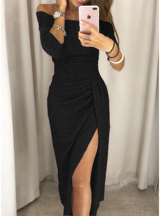 Solid 3/4 Sleeves Sheath Little Black/Party/Elegant Midi Dresses