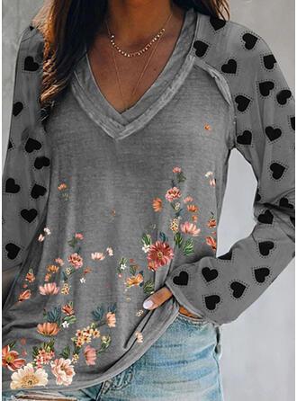 Floral Kalp Imprimeu Decolteu în V Mâneci Lungi Tişörtler