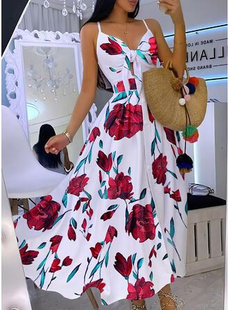 Print/Floral Sleeveless A-line Slip/Skater Party Maxi Dresses