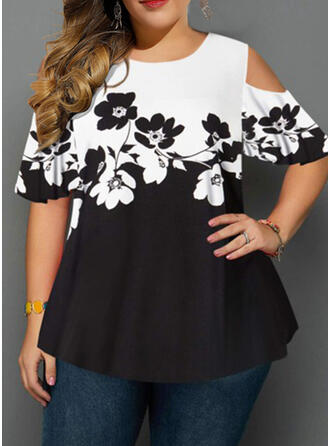 Floral Print Cold Shoulder Short Sleeves Casual Plus Size Blouses
