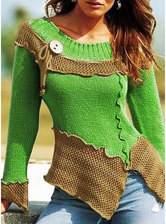 Geblockte Farben Grobstrick Rundhalsausschnitt Freizeit Pullover