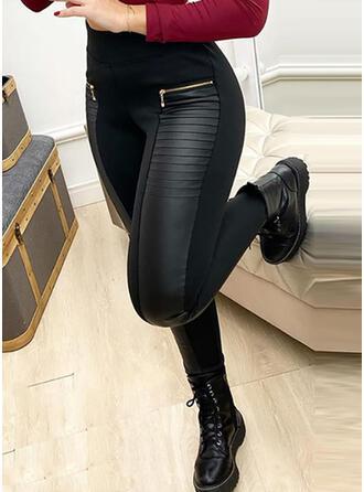 Solid Patchwork Sexy Lær Årgang Bukser leggings
