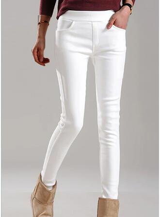 Solid shirred Plus størrelse Elegant Skinny Bukser
