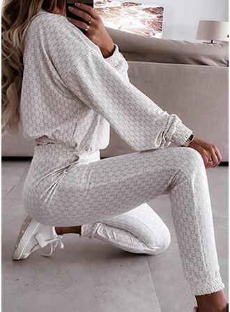 Imprimeu gündelik blouse & İki Parça Kıyafetler Set ()