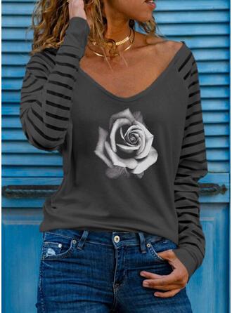 Распечатать Цветочный В полоску V шеи Длинные рукова Повседневная Блузы
