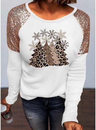Print Pailletten luipaard Ronde Hals Lange Mouwen Casual Kerstmis Overhemd