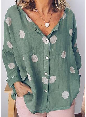 В горошек V шеи Длинные рукова Кнопка вверх Повседневная элегантный Блузы