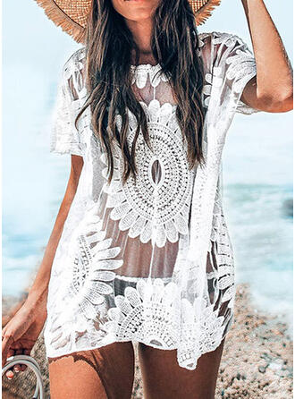 Solid Color Crochet High Neck Bohemian Boho Cover-ups Swimsuits