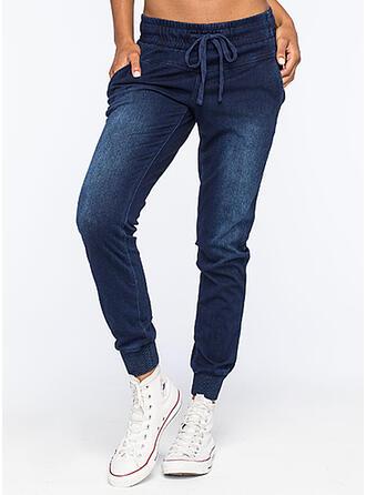 Sólido Jean Grandes Casual Desportivo Tamanho positivo Bolso cordão Jeans