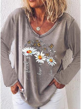 Animal Print Figure Floral V-Neck Long Sleeves T-shirts