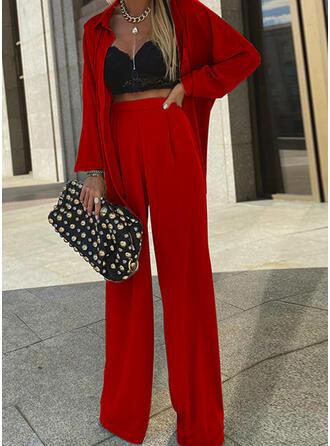 Solid Elegant Fritids blus & Tvådelade kläder uppsättning
