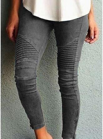 Stripe rynkede Pluss størrelse Lang Mager Yoga Vanlig leggings