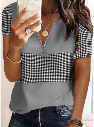 Nadruk Groszki Dekolt w kształcie litery V Krótkie rękawy Casual Bluzki