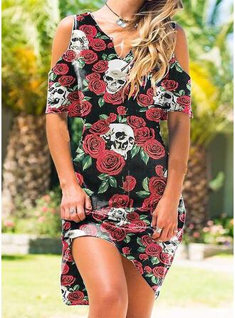 Tisk/Květiny Krátké rukávy Cold Ramen Sleeve Šaty Shift Délka ke kolenům Neformální Tunika Šaty
