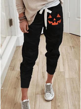 Halloween Estampado Cortada Casual Desportivo cordão Calças