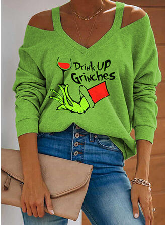 Print Figure Cold Shoulder Long Sleeves Casual Christmas Blouses