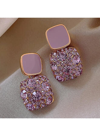 Square Alloy Rhinestones With Rhinestone Women's Earrings 2 PCS