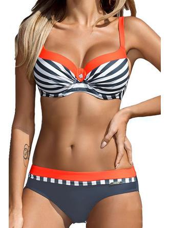 Stribet Strop Moderigtigt Plus størrelse Bikinier Badedragter